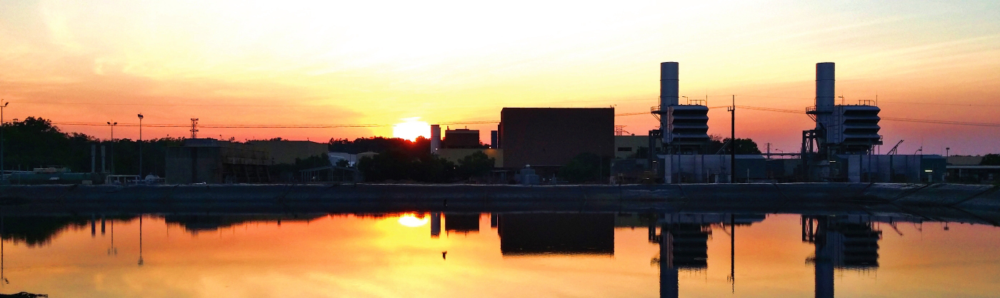 Photo of Channel Island Power Station at sunset